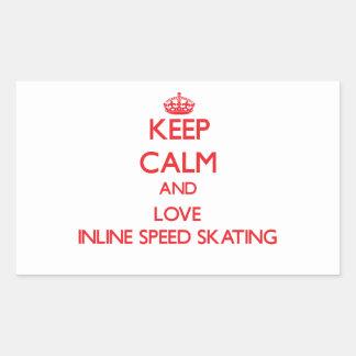 Keep calm and love Inline Speed Skating Rectangular Sticker