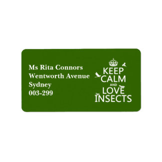 Keep Calm and Love Insects (any background colour) Label