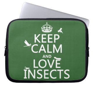 Keep Calm and Love Insects (any background colour) Laptop Sleeve