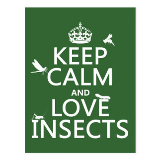 Keep Calm and Love Insects (any background colour) Postcard