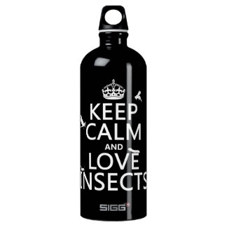 Keep Calm and Love Insects (any background colour) Water Bottle