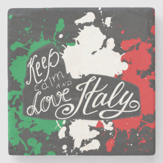 Keep Calm and Love Italy Stone Coaster