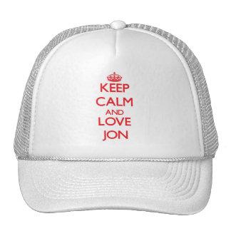 Keep Calm and Love Jon Trucker Hats