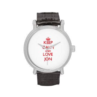 Keep Calm and Love Jon Wrist Watches