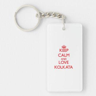 Keep Calm and Love Kolkata Double-Sided Rectangular Acrylic Key Ring