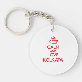 Keep Calm and Love Kolkata Double-Sided Round Acrylic Key Ring