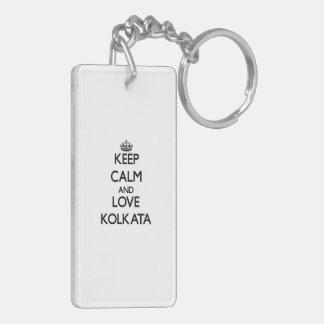 Keep Calm and love Kolkata Double-Sided Rectangular Acrylic Keychain
