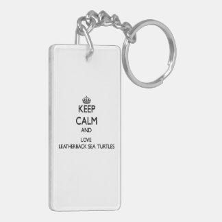 Keep calm and Love Leatherback Sea Turtles Double-Sided Rectangular Acrylic Keychain