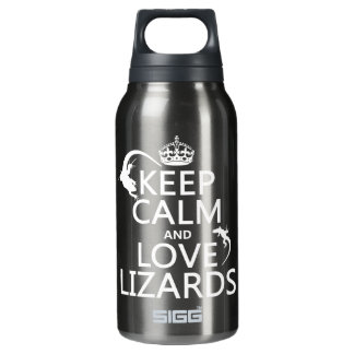Keep Calm and Love Lizards - all colors Insulated Water Bottle