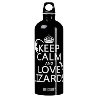Keep Calm and Love Lizards - all colors Water Bottle