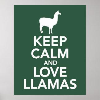 Keep Calm and Love Llamas print or poster