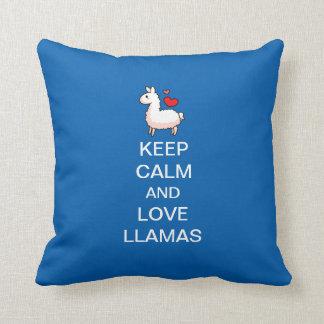 Keep Calm and Love Llamas Throw Pillow