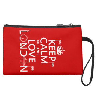 Keep Calm and Love London (any background color) Suede Wristlet