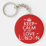 Keep Calm and Love London (any background colour) Basic Round Button Key Ring