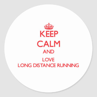 Keep calm and love Long Distance Running Round Sticker