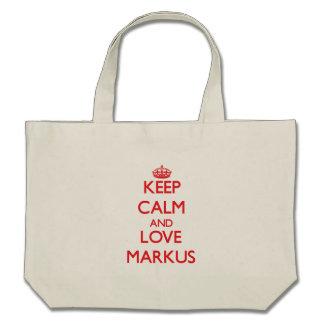Keep Calm and Love Markus Canvas Bags