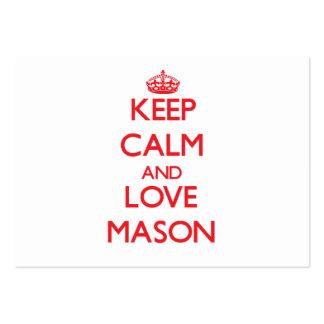 Keep calm and love Mason Business Card Template