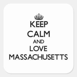Keep Calm and Love Massachusetts Square Sticker