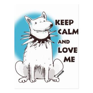 keep calm and love me cartoon style illustration postcard