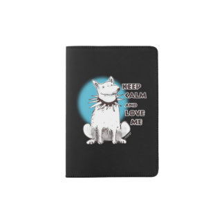 keep calm and love me white dog passport holder