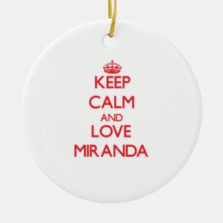 Keep calm and love Miranda Round Ceramic Decoration