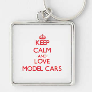 Keep calm and love Model Cars Silver-Colored Square Key Ring