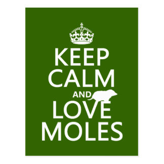 Keep Calm and Love Moles (any background color) Postcard