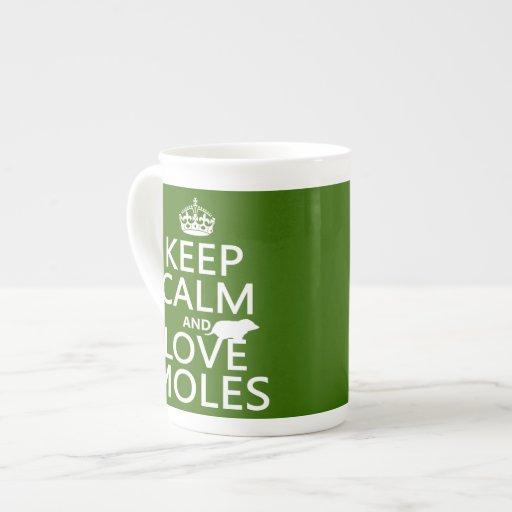 Keep Calm and Love Moles (any background color) Bone China Mugs