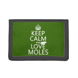 Keep Calm and Love Moles (any background color) Tri-fold Wallet