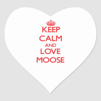 Keep calm and love Moose Heart Sticker
