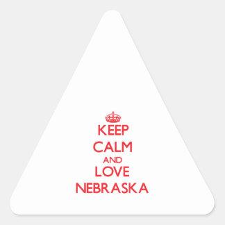 Keep Calm and Love Nebraska Triangle Sticker