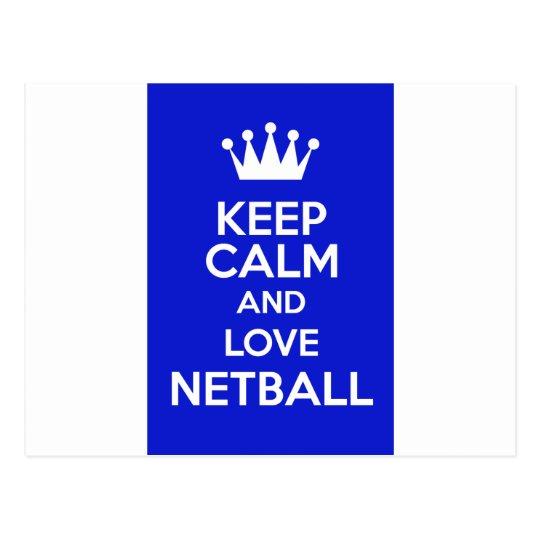 Keep Calm And Love Netball Postcard