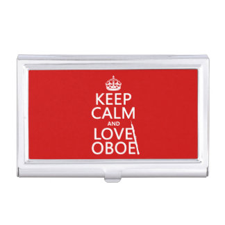 Keep Calm and Love Oboe (any background color) Business Card Holder