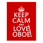 Keep Calm and Love Oboe (any background colour) Postcard