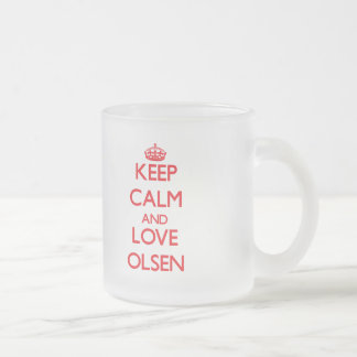 Keep calm and love Olsen 10 Oz Frosted Glass Coffee Mug