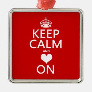 Keep Calm and Love On (Heart) Christmas Ornament