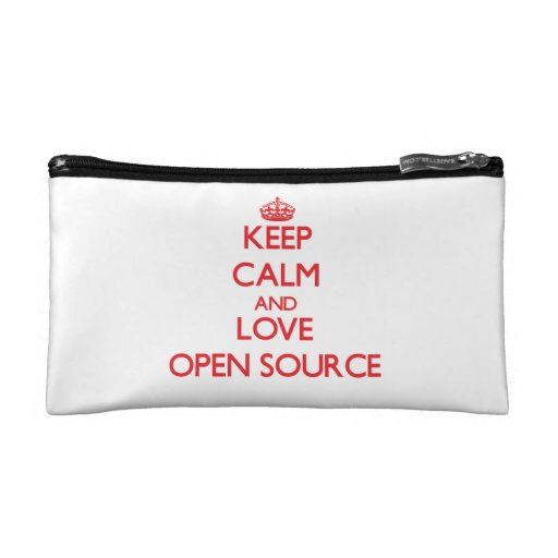 Keep calm and love Open Source Cosmetic Bags