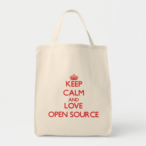Keep calm and love Open Source Tote Bags