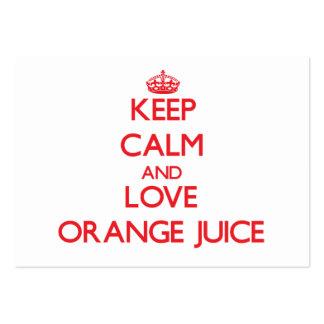 Keep calm and love Orange Juice Business Card