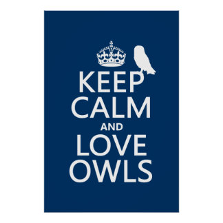 Keep Calm and Love Owls (any color) Posters