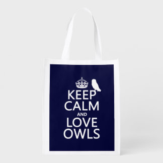Keep Calm and Love Owls (any color) Reusable Grocery Bag