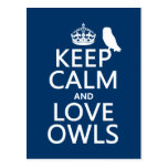 Keep Calm and Love Owls (any colour) Post Cards