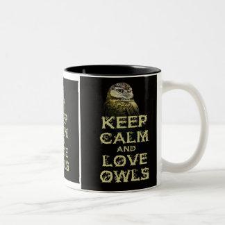 Keep Calm and Love Owls Original Owl Gift Stuff Two-Tone Coffee Mug