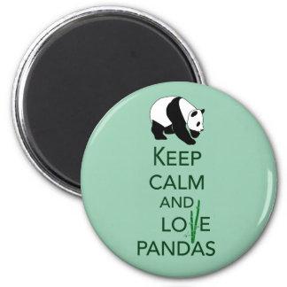 Keep Calm and Love Pandas Gift Art Print 6 Cm Round Magnet