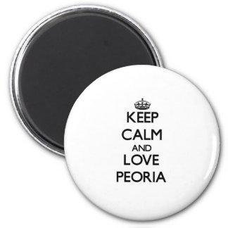 Keep Calm and love Peoria 6 Cm Round Magnet