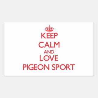 Keep calm and love Pigeon Sport Rectangular Sticker