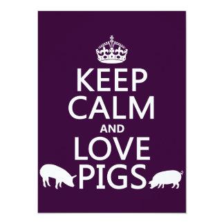 Keep Calm and Love Pigs (all colours) 14 Cm X 19 Cm Invitation Card