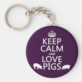 Keep Calm and Love Pigs (all colours) Basic Round Button Key Ring