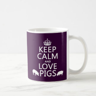 Keep Calm and Love Pigs (all colours) Basic White Mug