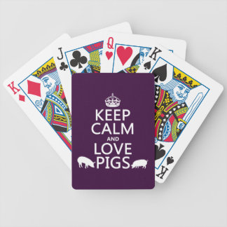 Keep Calm and Love Pigs (all colours) Bicycle Playing Cards